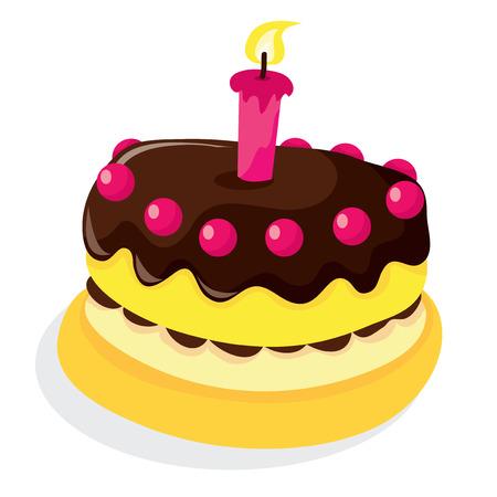 チョコレートのスポンジ ケーキ、キャンドル、チェリーをトッピングのベクター イラストです。