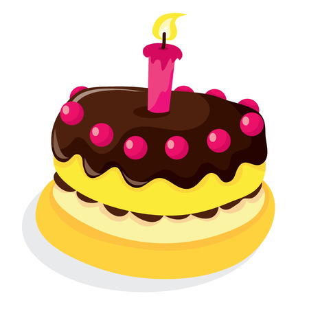A vector illustration of a chocolate topping sponge cake with a candle and cherries. Illustration