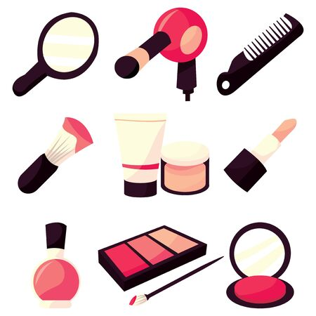 blush: A stock illustration set of nine different vector hair to makeup vanity icons.