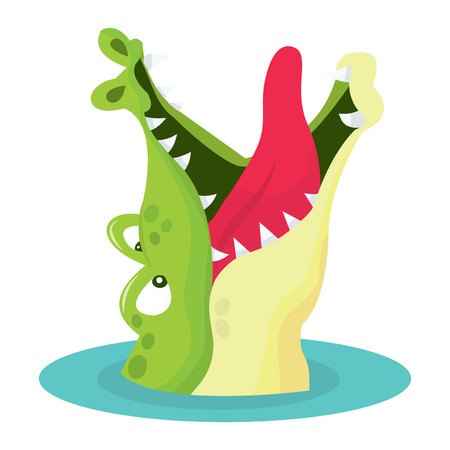 cartoon crocodile: A cartoon vector illustration of a crocodile in water with mouth wide open waiting to be fed.