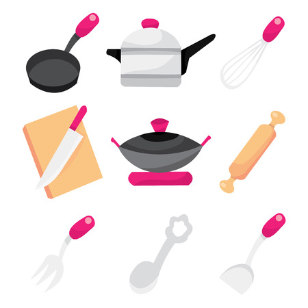 cooking utensils: A vector illustration of cooking utensils like wok, saucepan to spatula.