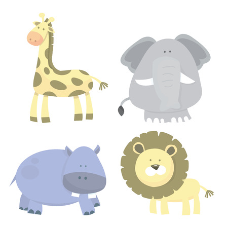 animal themes: Four different cute and funky jungle animals cartoon vector illustration.