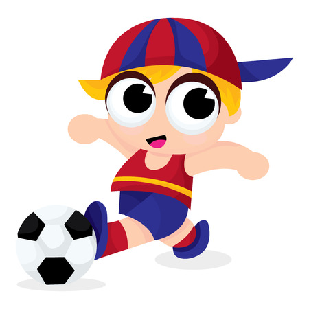 cute blonde: A cartoon vector illustration of a cute blonde boy playing soccer in a jersey and cap.