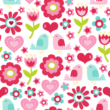 graphic pattern: A retro inspired vector illustration of floral like tulips and daisies with love birds theme seamless pattern background. Ideal for valentines day, gifts and merchandising design projects.