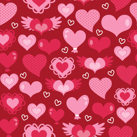 looking for: A vector illustration of sweet looking hearts theme seamless pattern background ideal for valentines day or gifts design project. Illustration