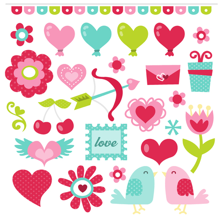 A vector illustration of cute and chic retro sweet valentine graphic set.