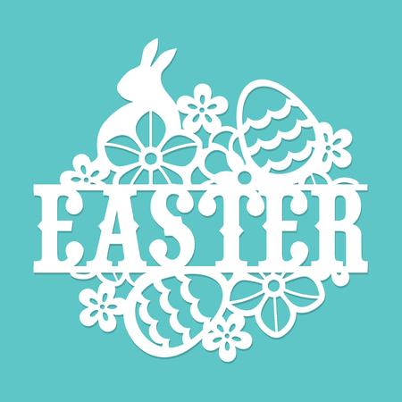 Ten obraz jest rocznik papieru wyciąć królika Easter kwiatów jaj tytuł.