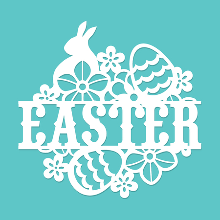 This image is a vintage paper cut easter floral egg rabbit title.