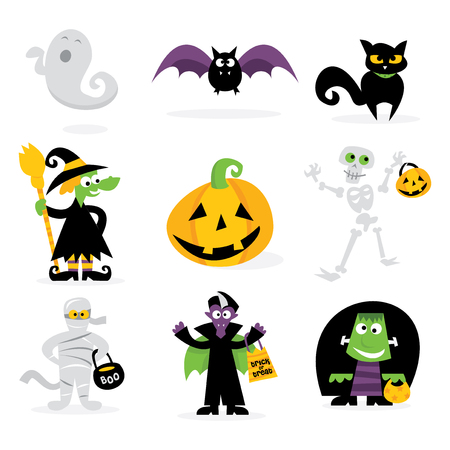 A cartoon vector illustration set of various halloween monsters characters and icons. Illustration