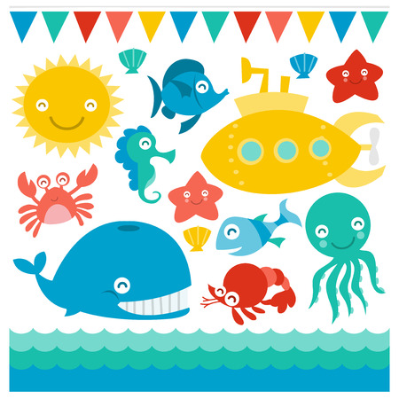 A whimsical and cute vector illustration of a yellow submarine and friendly sea creatures.