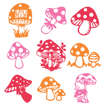 A vector illustration of 9 different whimsical vintage paper cut mushrooms.