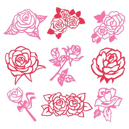 A vector illustration of 9 assorted roses vintage roses filigree paper cut set.