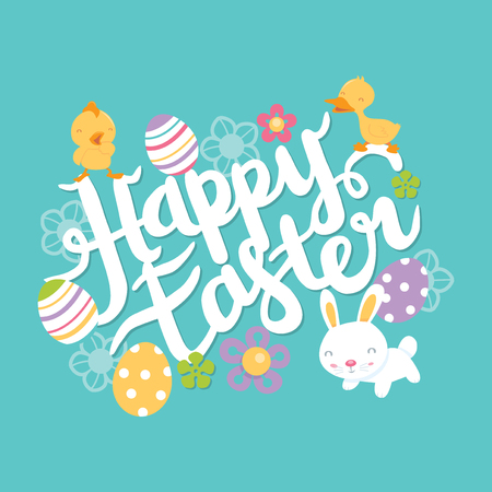 A vector illustration of a brush script happy easter lettering with easter theme design elements such as easter eggs, flowers, easter bunny and other animals.