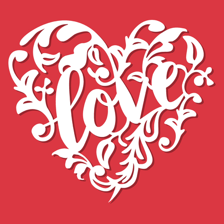 This image is a vintage paper cut style love swirl flourish heart. The heart lace is composed of love phrase, swirls and flourishes. The heart is white in colour set against a red background.