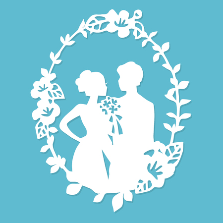 Een vector illustratie van vintage silhouet bruiloft bruidegom bruid krans frame in papier gesneden stijl.