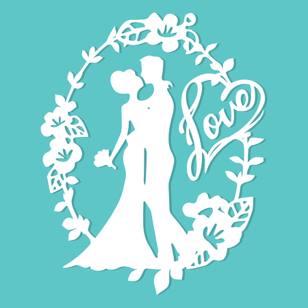 corte laser: A vector illustration of vintage silhouette wedding groom bride wreath with love phrase in paper cut style. Vectores