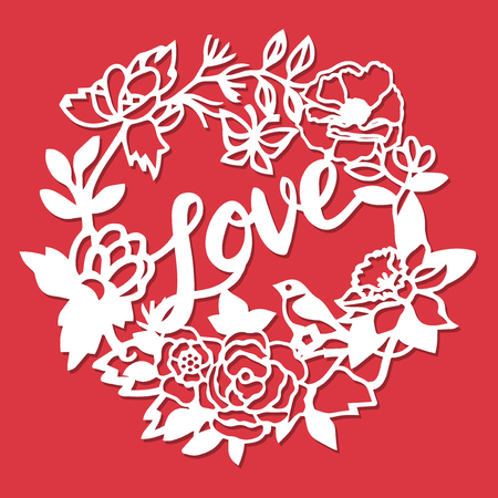 This image is a vintage paper cut love flowers wreath title. The wreath lace is composed of love day phrase, bird, flowers and leaves. Ilustração