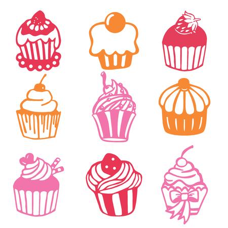 fruit cake: A vector illustration of 9 vintage paper cut cupcake set.