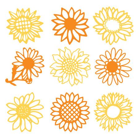9 ヴィンテージ紙のベクトル イラスト カットひまわりヒナギク花セットです。 写真素材 - 75533492