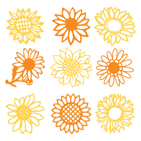 A vector illustration of 9 vintage paper cut sunflowers daisies flowers set. Çizim