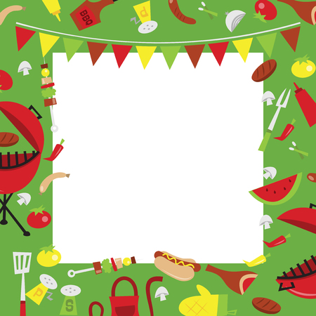 A vector illustration of retro summer barbecue party background. The image is filled with party elements like hot dogs, condiments, bbq and meat. There is a white square background in the middle for copy. Ilustração