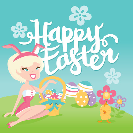 A vector illustration of a cartoon retro happy easter bunny pinup girl greeting background. Shes cute, wearing a bunny ear headband and holding some easter eggs against blue sky. Shes sitting on grass with easter eggs, easter baskets and cute chick.