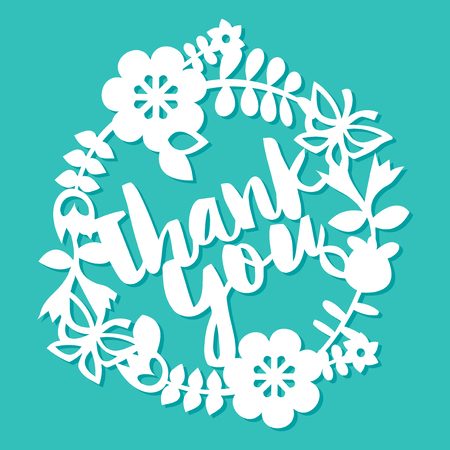 A vector illustration of vintage paper cut floral wreath with thank you phrase. The lace is white on a blue background.