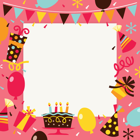 square image: A vector illustration of retro theme happy birthday surprise party background. The image is filled with party elements like balloons, confetti, party hats with a white square background in the middle for copy.