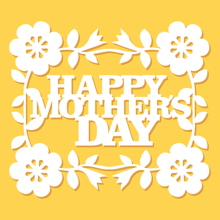This image is a vintage folk paper cut style floral happy mothers day greeting.