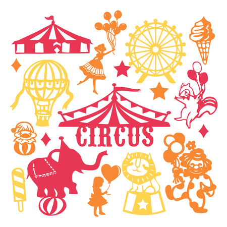 A vector illustration of assorted paper cut silhouette vintage circus set. Included in this image are circus tent, circus animals, people and ice cream. Illustration