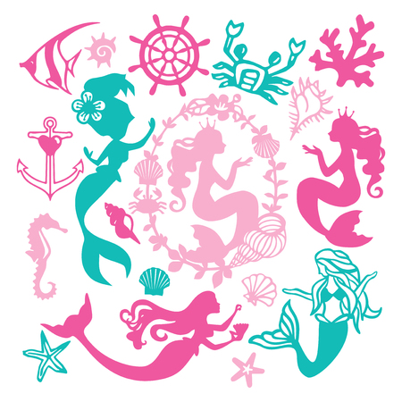 A vector illustration of assorted paper cut silhouette vintage mermaid nautical set like mermaids, underwater animals, seashell and coral. Çizim