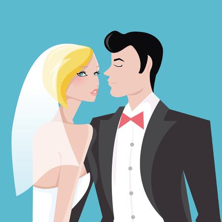 Een gestileerde vectorillustratie van een moderne bruid en haar knappe bruidegom. Het bruidspaar staat op een blauwe achtergrond. Stock Illustratie