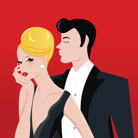A vector illustration of glamorous lady with blonde updo and a man in tuxedo suit.