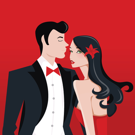 A vector illustration of glamorous lady with long black hair and a man in tuxedo suit.