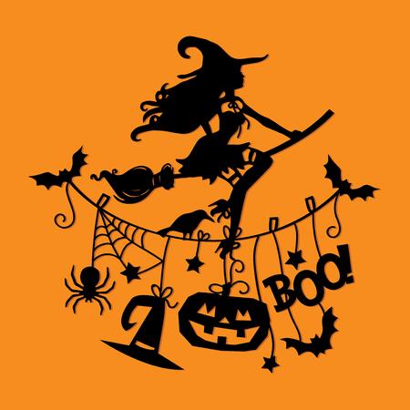 ハロウィーン テーマの衣料品の行のほうきで飛んでセクシーな魔女のイラスト。