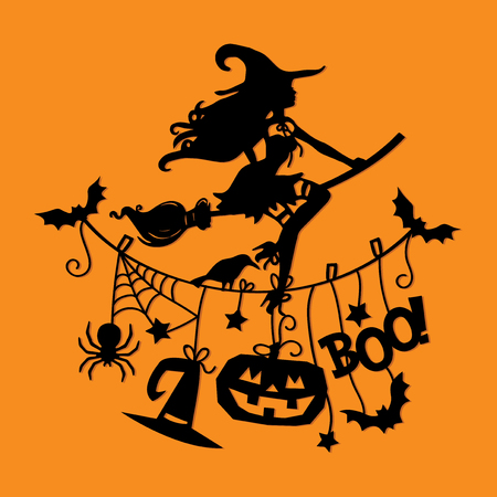 An illustration of a sexy witch flying with broomstick over halloween theme clothing line. Stock Illustratie