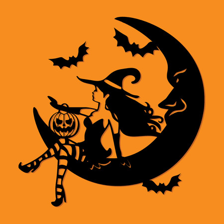 An illustration of a sexy witch sitting on a crescent moon with halloween design elements like pumpkin and bats.