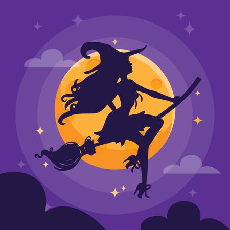 섹시 한 마녀 실루엣 보라색 어두운 할로윈 밤 하늘을 보여줍니다.