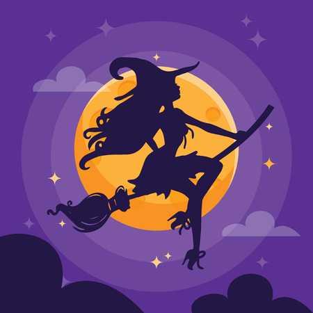 A illustration of a sexy witch silhouette over a purple dark halloween night sky. Ilustracja