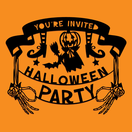 A illustration of a paper cut silhouette halloween party invitation banner. The halloween banner is made of pumpkin, skeleton hands and lettering. Illustration