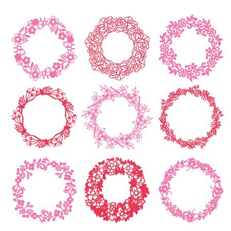紙の設定 9 フローラル リースのイラストのカット シルエット スタイル。  イラスト・ベクター素材