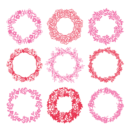 An illustration of 9 floral wreath set in paper cut silhouette style.