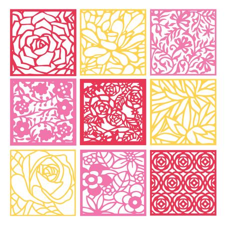 Een illustratie van 9 verschillende bloemen fretwork rooster achtergrond in papier gesneden silhouet stijl. Stock Illustratie