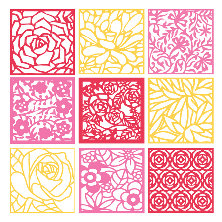 An illustration of 9 different floral fretwork lattice background set in paper cut silhouette style.