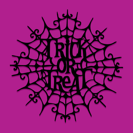 An illustration of paper cut silhouette halloween trick or treat spider web.
