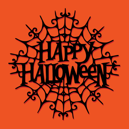 A illustration of paper cut silhouette happy halloween spider web. Иллюстрация