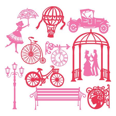 紙のベクトル イラスト シルエット ビンテージ ビクトリア朝の設計要素アンティーク オブジェクト、ビンテージ車や家庭用品のような設定のカット