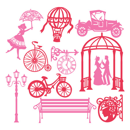 A vector illustration of paper cut silhouette vintage victorian design elements set like antique objects, vintage cars and home items.