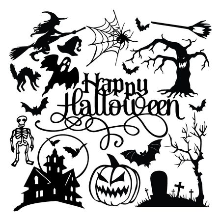 A vector illustration of spooky halloween paper cut silhouette set. Çizim