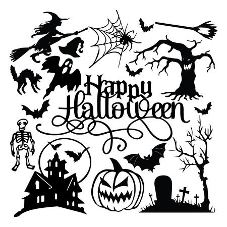 Een vectorillustratie van griezelig Halloween-document sneed silhouetreeks.
